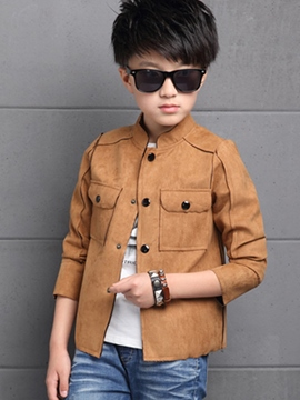 Ericdress Stand Color Pocket Patch Boys Outerwear