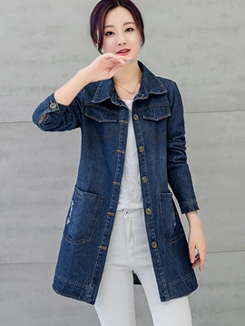 Ericdress Solid Color Slim Letters Denim Outerwear