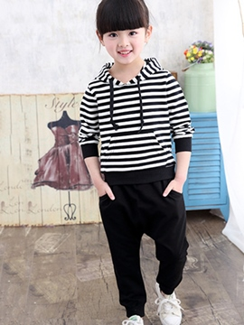 Ericdress Black&White Strips Drawstring Hooded Girls Outfit