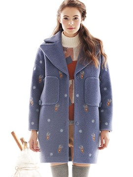 Ericdress Loose Pocket Printed Coat