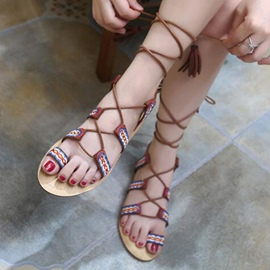 Ericdress Ethnic Ring-Toe Lace-Up Flat Sandals
