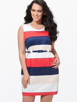 Ericdress Color Block Sleeveless Plus Size Bodycon Dress