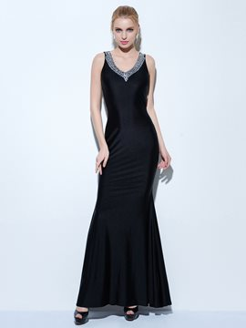 Ericdress Mermaid V-Neck Beading Floor-Length Evening Dress
