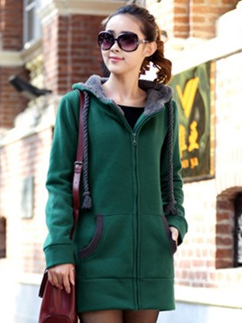 Ericdress Straight Color Block Lace-Up Cool Hoodie