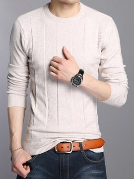 Ericdress Plain Crew Neck Slim Men's Sweater