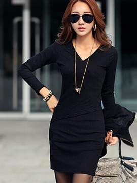 Ericdress Plain V-Neck Long Sleeve Bodycon Dress