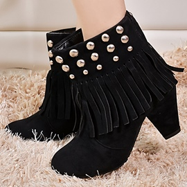 Ericdress Round Toe Rivets&tassels Ankle Boots