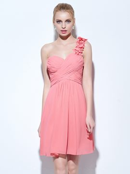 Ericdress A-Line One-Shoulder Ruched Short Cocktail Dress