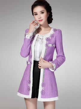 Ericdress Color Block Slim Floral Coat