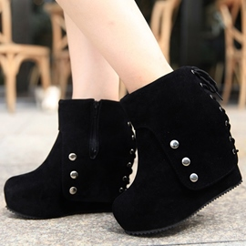 Ericdress Suede Back Lace up Wedge Boots