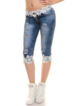 Ericdress Unique Lace Patchwork Jeans
