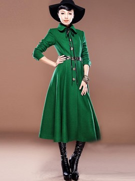 Ericdress Green Tie Bow Front with Belt Trench Coat