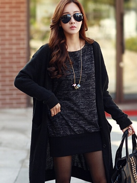 Ericdress Round Neck Batwing Sleeve Sweater Dress