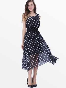 Ericdress Polka Dots Chiffon Jumper Dress