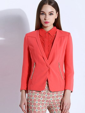 Ericdress Solid Color V-Neck Zipper Blazer