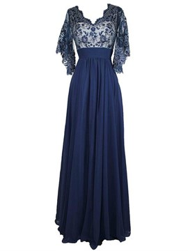Ericdress Elegant V Neck Lace Long Mother Of The Bride Dress
