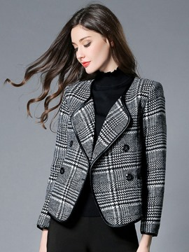 Ericdress Double-Breasted Houndstooth Blazer
