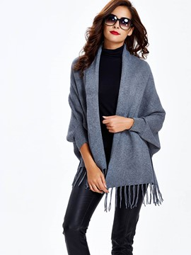 Sisjuly Tassel Solid Color Caped Knitwaear