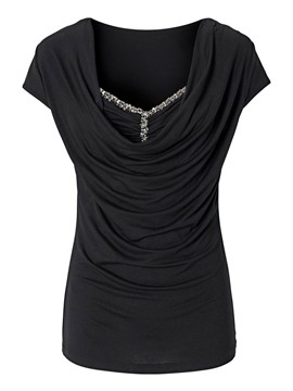 Ericdress Slim Solid Color Sequins Heap T-Shirt