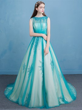 Ericdress Bateau Ball Gown Beading Sashes Court Train Quinceanera Dress