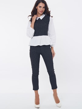 Ericdress Elegant Stripe Blouse Suit