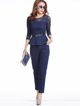 Ericdress Elegant Lace Patchwork Top Suit