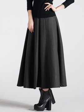 Ericdress Pleated A-Line Maxi Skirt