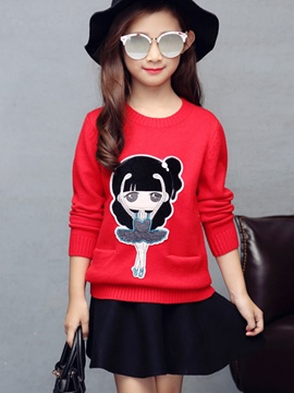 Ericdress Knitting Cartoon Fabric Appliques Girls Top