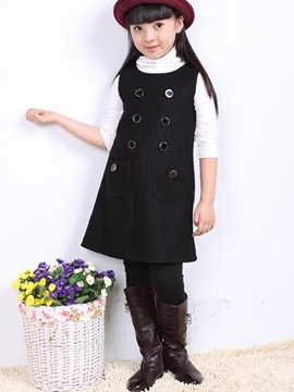 Ericdress Double-Breasted Suspenders Long Three-Piece Girls Outfit