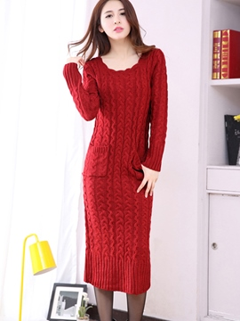 Ericdress Solid Color Round Neck Slim Sweater Dress