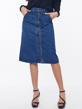 Ericdress Fashion Single-Breasted Denim Skirt