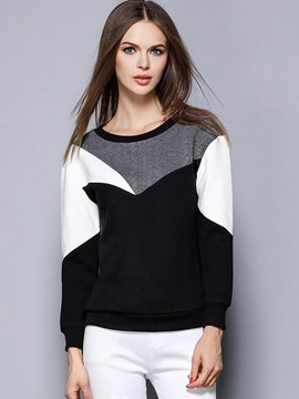 Ericdress Color Block Long Sleeve T-Shirt