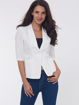 Ericdress White Lapel Half Sleeve Blazer