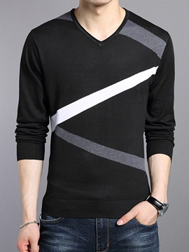 Ericdress V-Neck Pullover Slim Men's Sweater