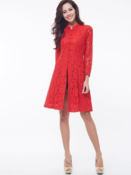Ericdress Solid Color Ethnic A-Line Lace Dress