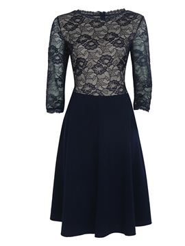 Ericdress Solid Color Patchwork Flabala Lace Dress