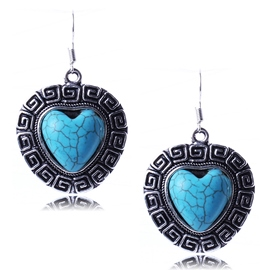 Ericdress Heart Shaped Turquoise Earrings