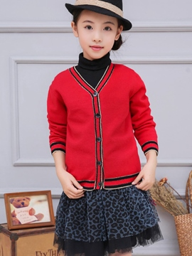 Ericdress Strips Lace-Trim Knitting Cardigan Girls Top