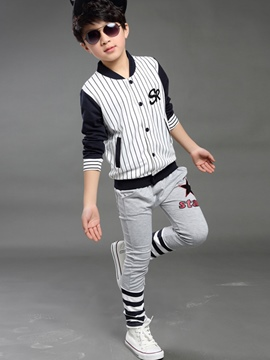Ericdress Color Block Strips Patchwork Two-Piece Boys Outfit