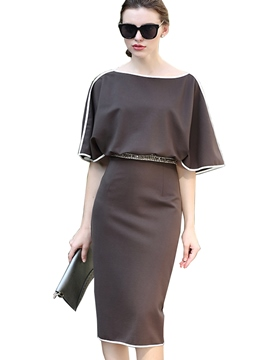 Ericdress Batwing Sleeve Patchwork Sheath Dress