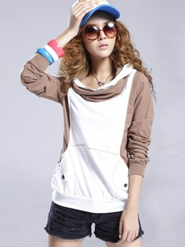 Ericdress Color Block Hooded T-Shirt