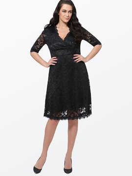 Ericdress Solid Color Plus Size Lace Dress