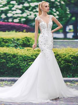 Ericdress Beautiful V Neck Appliques Beaded Mermaid Wedding Dress