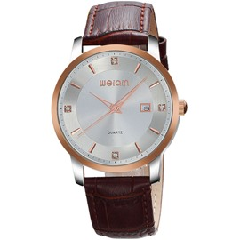 Ericdress Leather Band Round Diamante Men's Watch