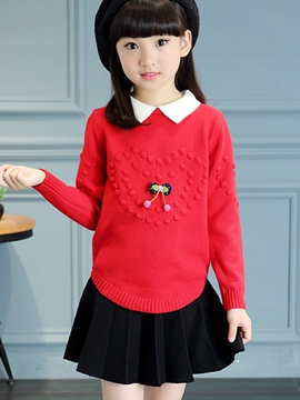 Ericdress Lapel Collar Knitting Patchwork Girls Top