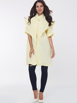 Ericdress Yellow Falbala Trim Thin Coat