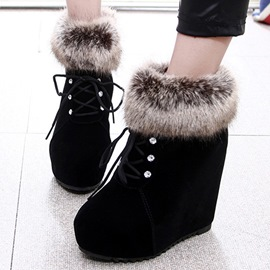 Ericdress Cute Furry Wedge Ankle Boots