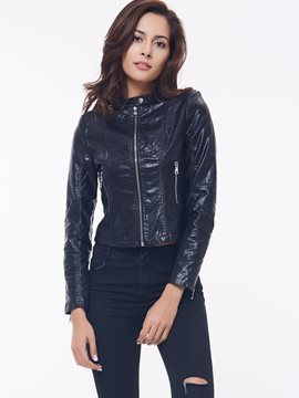 Ericdress European Solid Color Slim PU Jacket