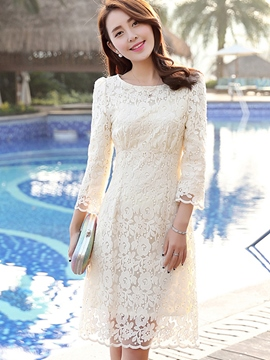 Ericdress Solid Color Round Neck Nine Points Sleeve Lace Dress