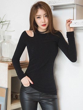 Ericdress Black Cold Shoulder Slim T-Shirt
